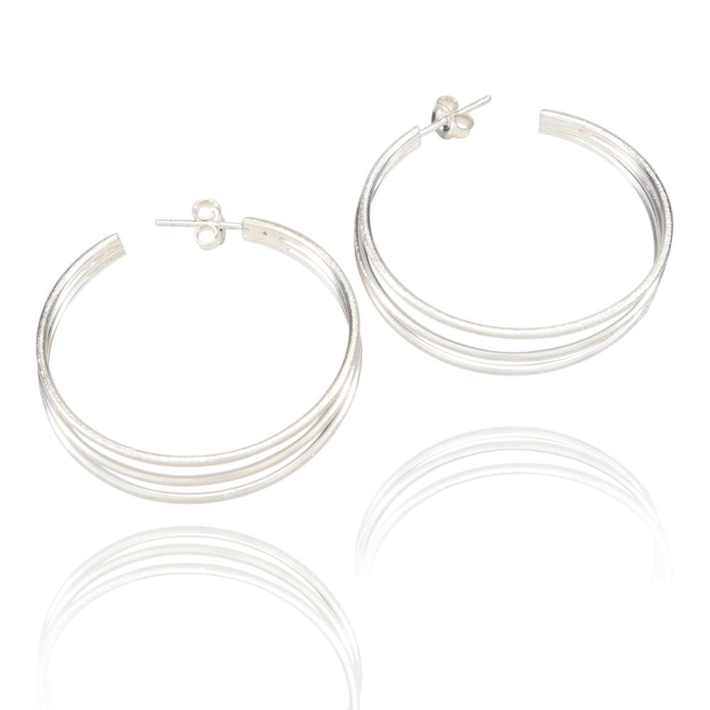 NEW .925 sterling silver wholesale hammered hoop TEAR earrings jewelry #JJ07